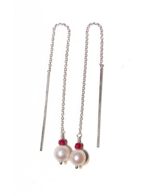 Pearl and Ruby Threader Earrings