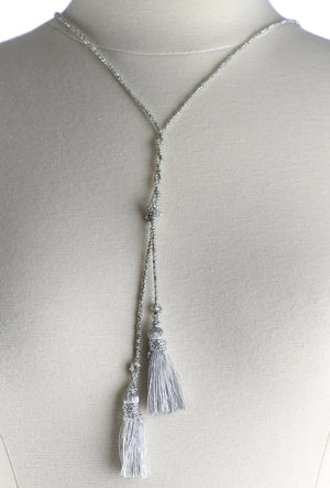 Necklace: 2 Tassels on Beads