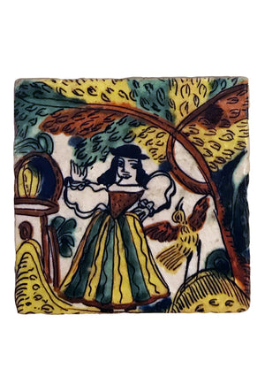 Mexican Coaster: Woman with Bird