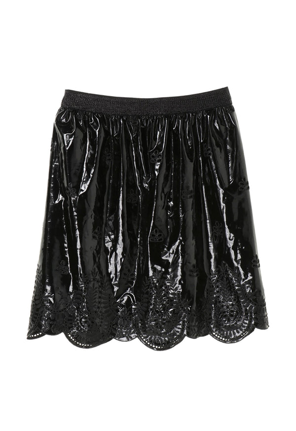 Lady In Black Lace & Velvet Skirt