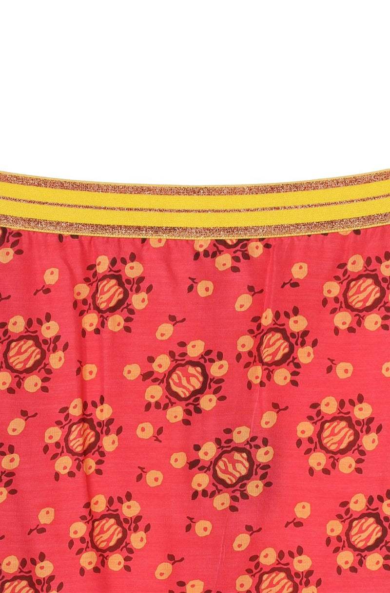 Pom Pom Wreath Border Print Skirt