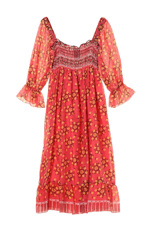 Pom Pom Wreath Border Print Smocked Dress