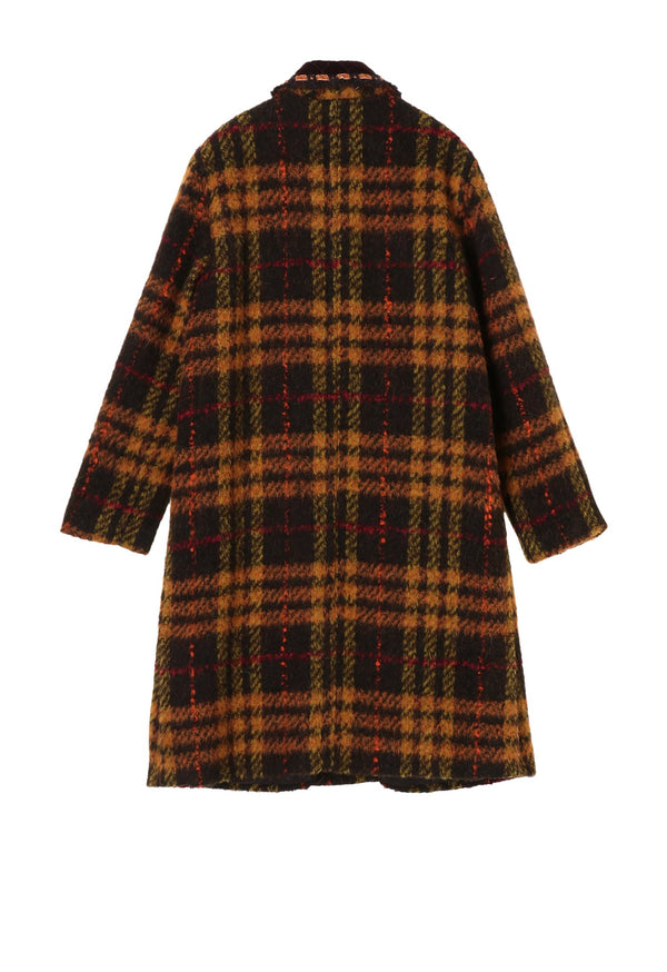 Brushed Plaid Coat