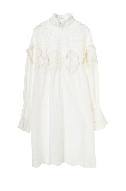 Eyelet Collage Mock Neck Dress