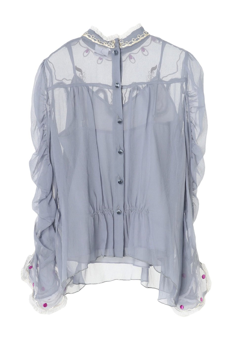 Embroidered Crinkle Chiffon Top