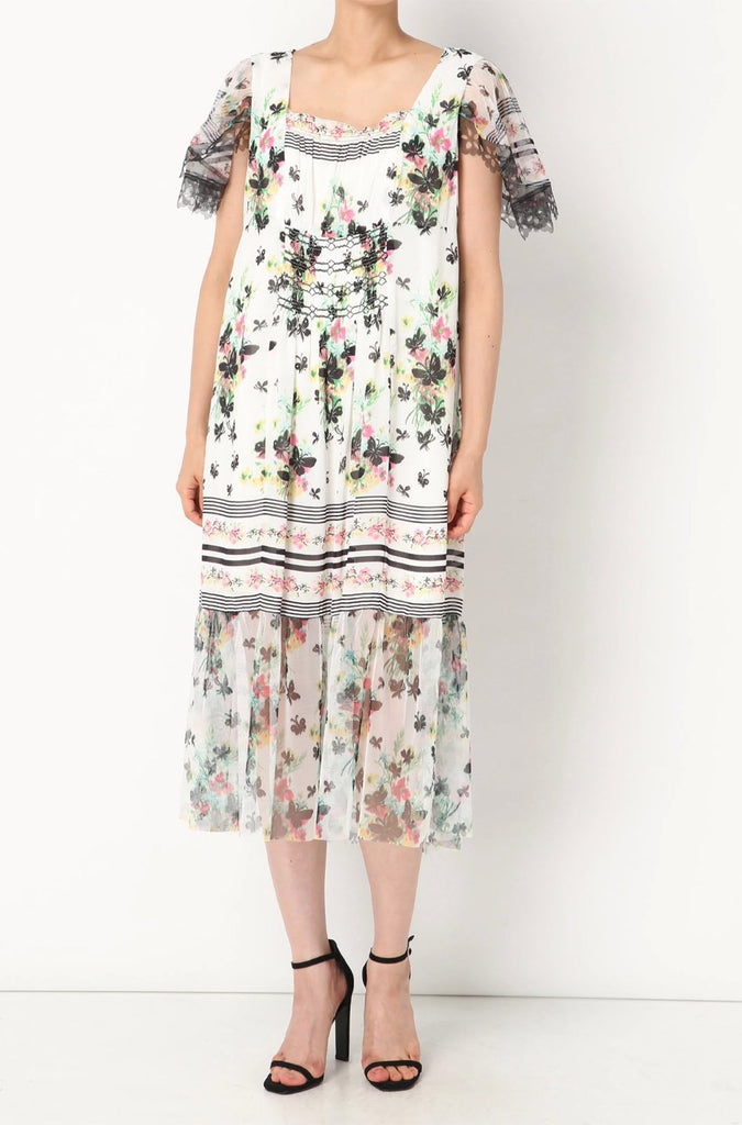 Bouquet Bordered Butterflies Dress