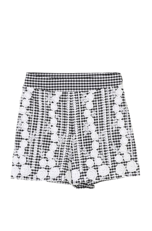 Embroidered Gingham Shorts