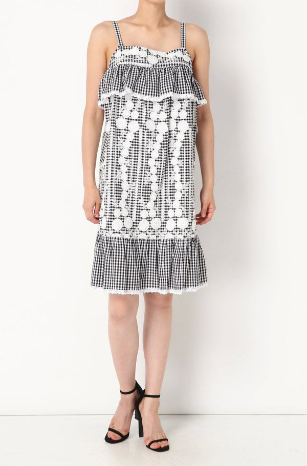 Embroidered Gingham Tank Dress