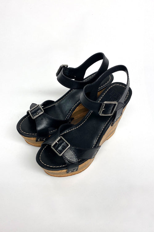 Karlie Wedge Black Leather
