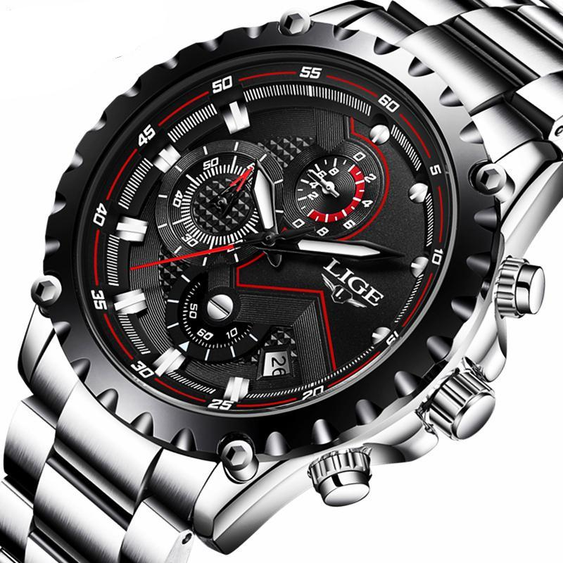 Mens Top Brand Luxury Full Steel Business Waterproof Watch