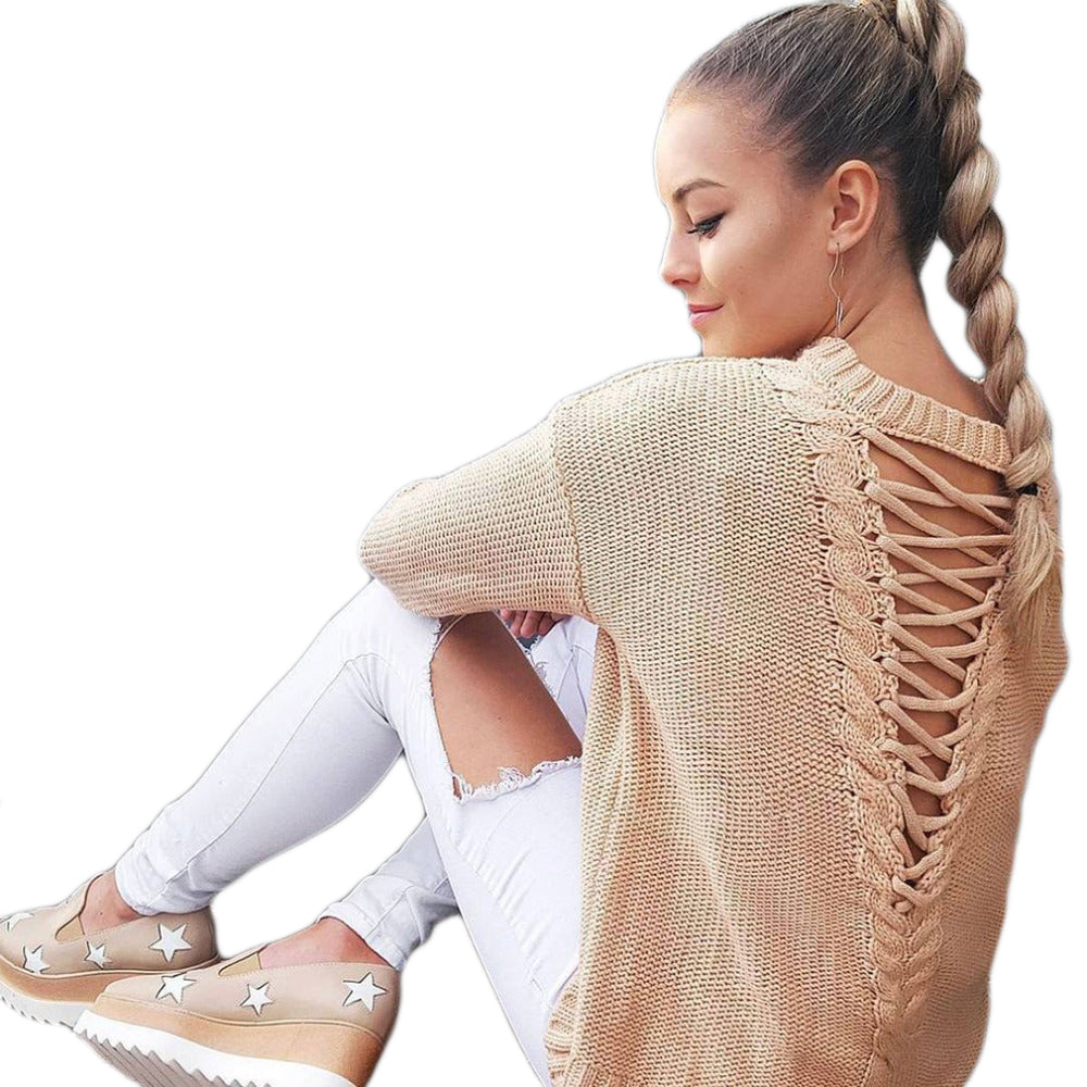 Sexy backless knitting pullover fashion bandage autumn winter sweater women tops