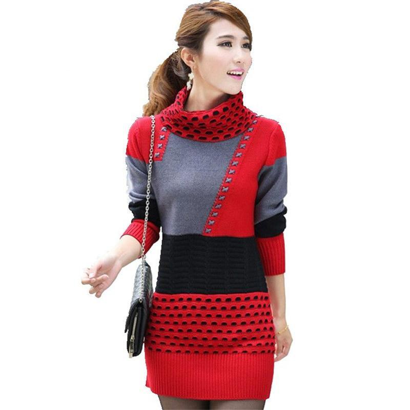 New Women Spring Autumn Winter Slim Long-sleeves Sweater Thick Knitting Sweater Coat