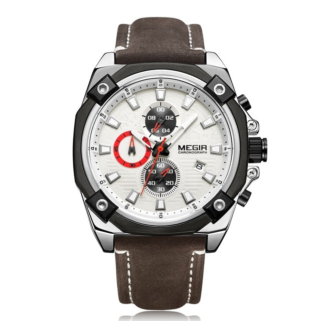 Watches Men Top Brand Luxury Fashion Sport Watch Man Leather Chronograph Quartz Watch