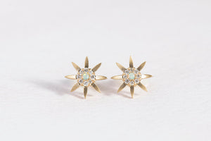 opal + diamond 8 pointed star studs
