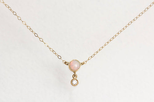 opal + diamond drop pendant