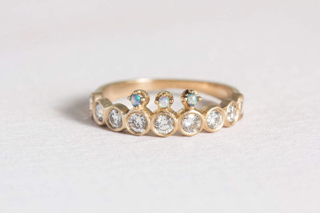 diamond + opal crown ring