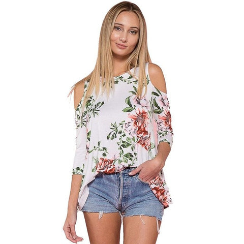 Sexy Cold Shoulder Floral Printed Casual Blouse
