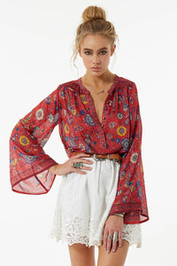O-Neck Long Flare Sleeve Boho Blouse