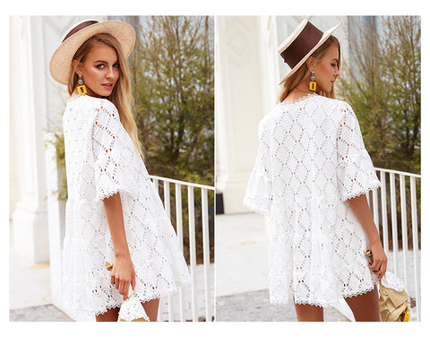 Flare sleeve white lace cotton dress