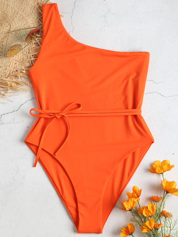 One piece One Shoulder Padded Swimsuit