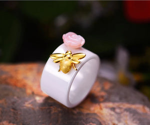 Handmade  Ceramic Ring with Cute  Sterling Silver Bee