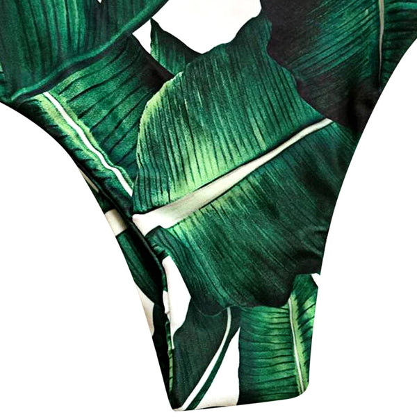 Sexy One Piece Leaf Print Swimsuit