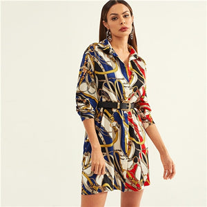 Multicolor Button Mixed Print Collar Dress