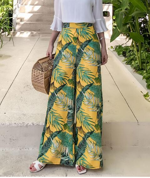 Floral Print Wide Leg Casual Pants