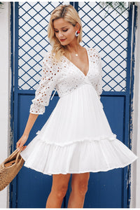 Deep V neck embroidery ruffled dress