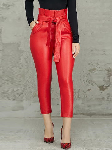 Casual Pocket Design Skinny Ankle-Length Pants
