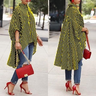Plus Size Striped Summer Blouse