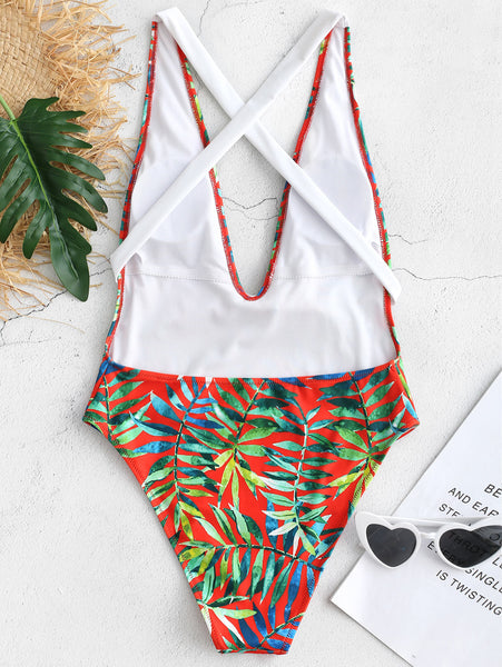 Leaf Print Tie Low Cut One Piece Swimsuit