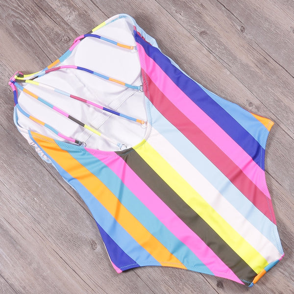 One Shoulder One Piece Striped Swimsuit