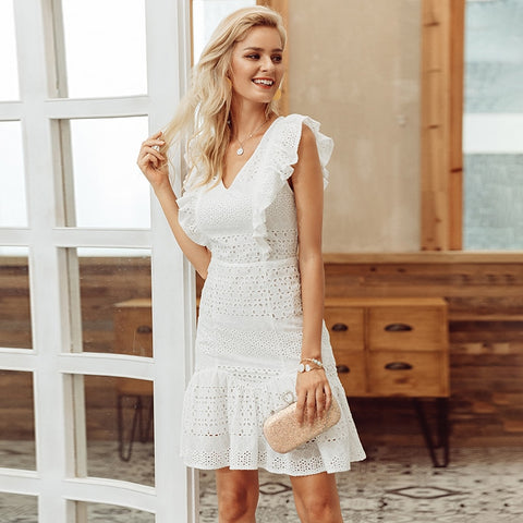 Cotton embroidery summer ruffled dress