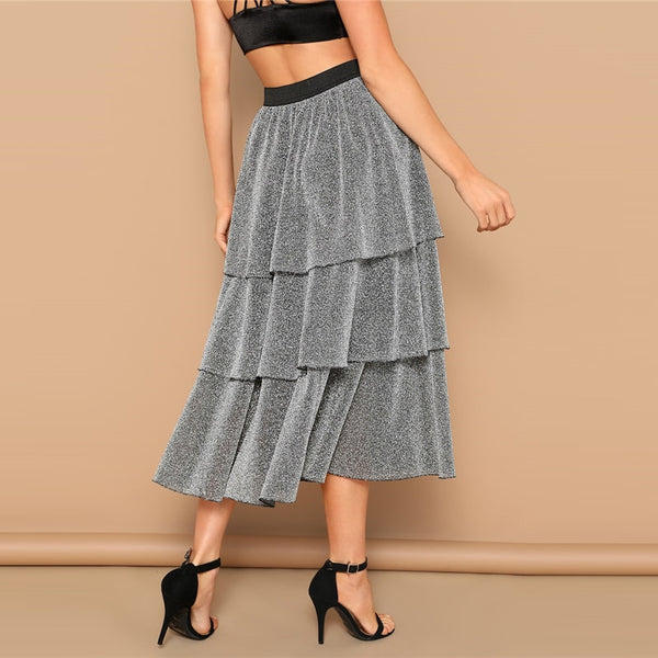 Layered Ruffles Mid Waist Silver Skirt