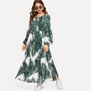 Tropical Print Bishop Sleeve Smock Dress