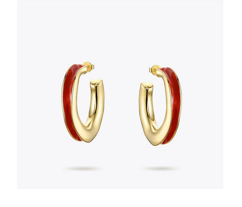 Red Twist Hoop Red Earrings