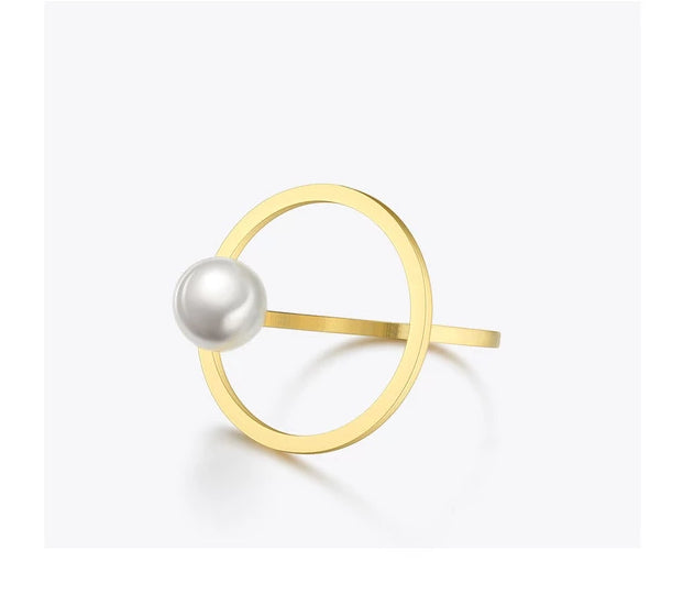 Pearl Circle Stainless Steel Ring