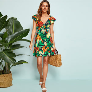 Multicolor Tied Backless Tropical Print Dress