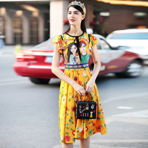 Colorful Floral Pleated & Ruffles Summer Dress