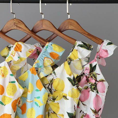 Fruity Spring / Summer Cotton Mini Dress