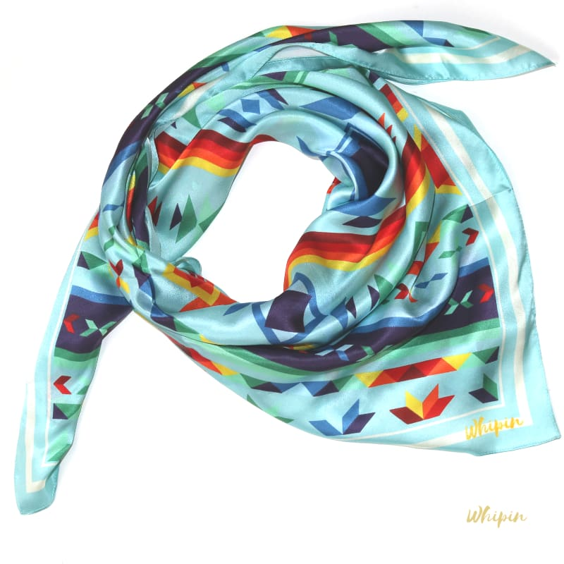 Turquoise Native Print Silk Wild Rag, Whipin Wild Rags