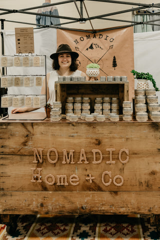 Nomadic Home Co womxn owned business local pop uo marketplace selling ethical home goods and handmade soy candles inspired by adventure