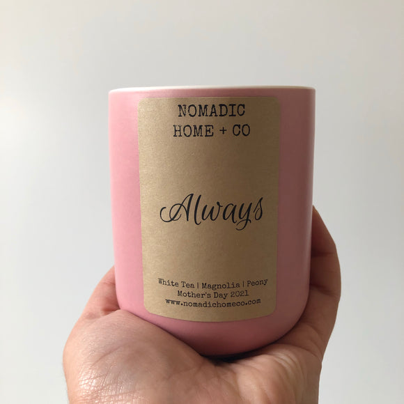 Mother's Day Candle. Blush colored ceramic vessel with a light brown Kraft label.