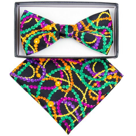 Mardi Gras Bow Ties with matching Handkerchief