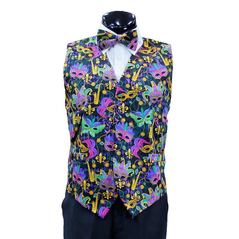 Mardi Gras Vest with matching Bow Tie #2