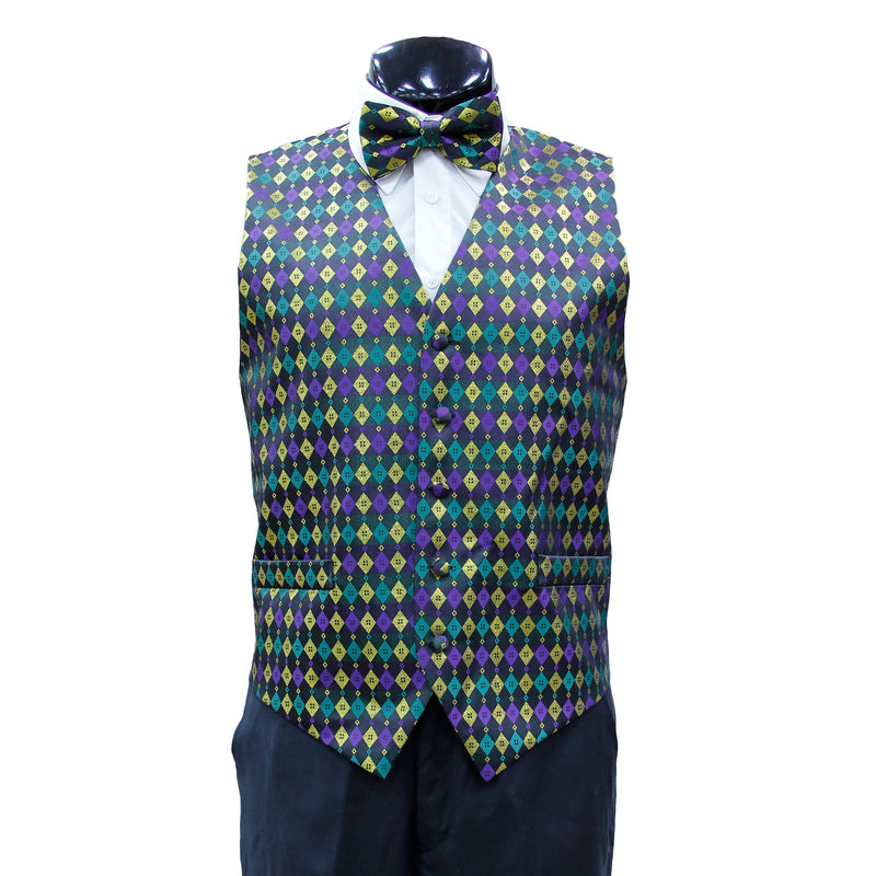 Mardi Gras Vest with matching Bow Tie  #4 (Diamond)