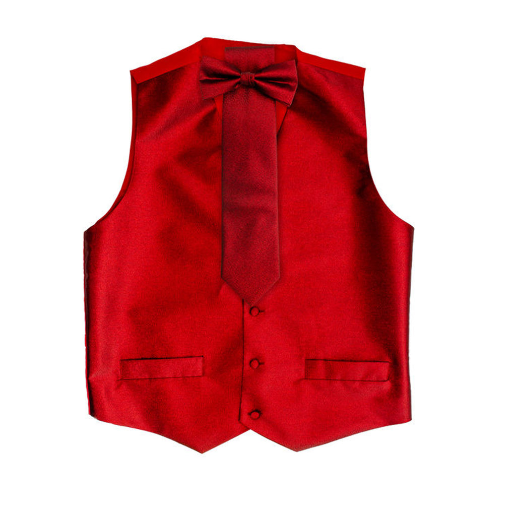 Red Metallic Vest Set with Hanky and Tie Karl Knox