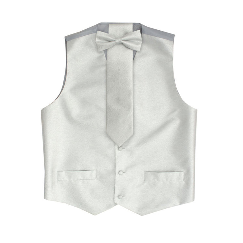 Silver Metallic Vest Set with Hanky and Tie Karl Knox