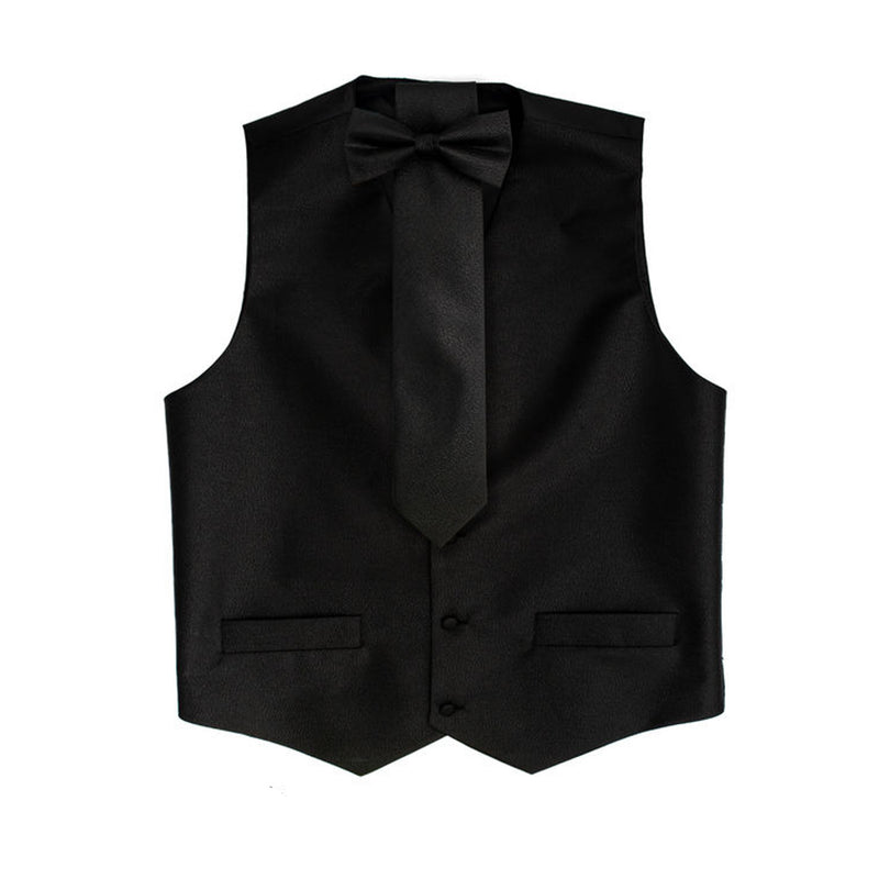 Black Metallic Vest Set with Hanky and Tie Karl Knox